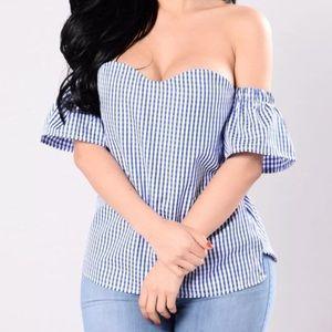 Fashion nova navy and blue off shoulder top